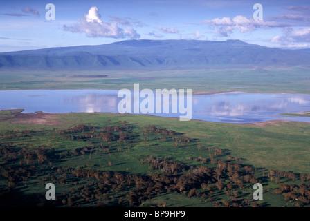 View into Ngorongoro Crater with Lake Magadi during the wet season Tanzania - Stock Photo