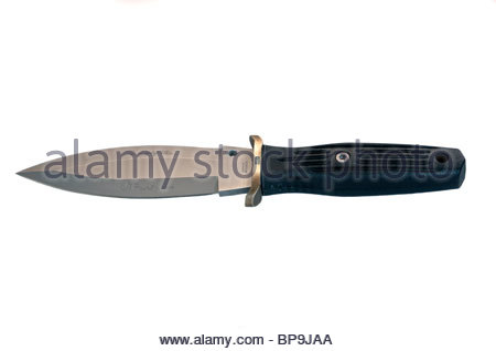 Boker mini smatchet dagger cut-out on white background. Applegate Fairbairn dagger. - Stock Photo