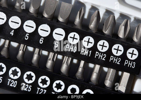 selection of screwdriver bits including phillips and torx - Stock Photo