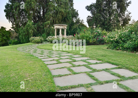 Beautiful pathway along the Rose Garden of the Huntington Library. - Stock Photo