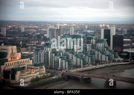 Aerial view of the headquarters of MI6 British military intelligence on the bank of the River Thames - Stock Photo