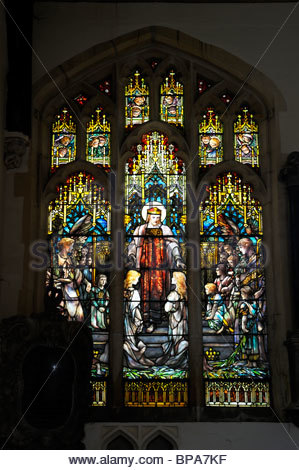 View of a Tiffany stained glass church window in Kimbolton, Cambridgeshire, England - Stock Photo
