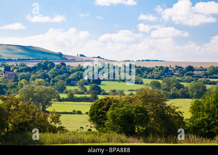 View from Upper Wanborough towards Liddington in Wiltshire, England, UK - Stock Photo