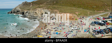 Panoramic view of Chapel Porth beach and car park, Cornwall UK. - Stock Photo
