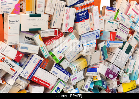 Prescription drugs in boxes - Stock Photo