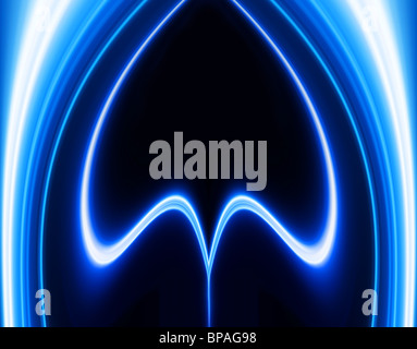 Greased light pattern on blue background personifying technological processes - Stock Photo
