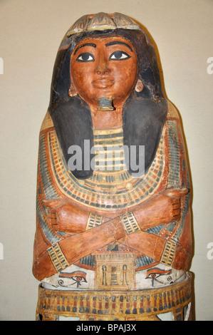 Egyptian mummy case, State Hermitage Museum, Saint Petersburg, Northwestern Region, Russia - Stock Photo
