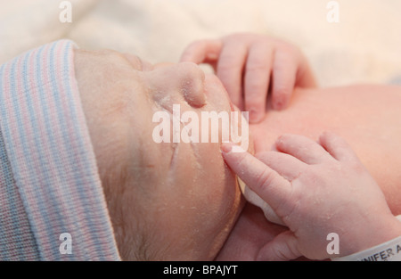 Newborn Baby Boy, Only Minutes Old - Stock Photo