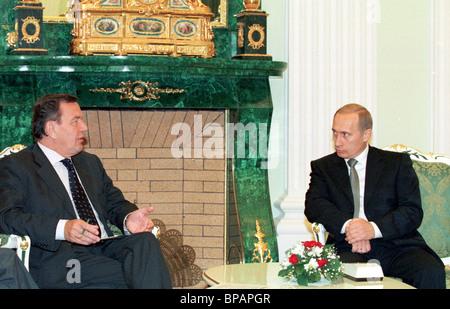 Meeting of President of Russia Vladimir Putin and German Chancellor Gerhard Schroeder. - Stock Photo