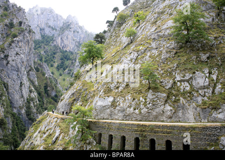 Walkers head up into the clouds on a dull day, the Cares Route, along the Cares Gorge, Picos de Europa, Spain, - Stock Photo