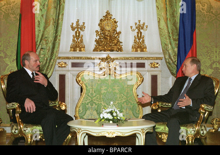 A tete-a-tete conversation of the presidents of Russia and Belarus in the Kremlin. - Stock Photo