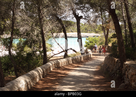 Mallorca beach at s'Amarador in the Parc Natural de Mondrago with pine tree forest setting - Stock Photo