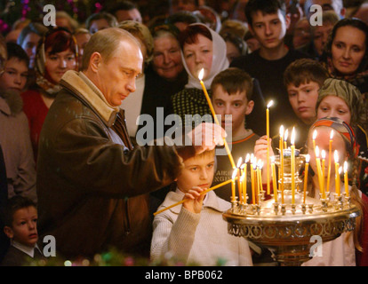 Russian President attends the Christmas service in Tver Region - Stock Photo