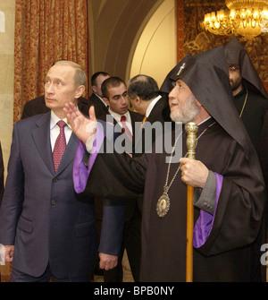 Russian President Vladimir Putin met with the Head of the Armenian Apostolic Church - Stock Photo
