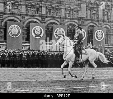 Marshall Zhukov attends 1945 Victory Parade - Stock Photo