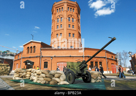 Wind of WWII time exhibition opened for school children in St. Petersburg - Stock Photo
