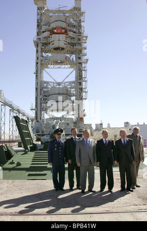 Russian and Kazakh Presidents to visit Baikonur which celebrates its 50th anniversary - Stock Photo