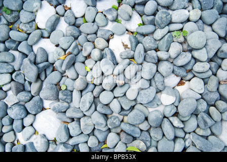 white and gray pebbles with fallen leaves. usually use in Japanese or Chinese yard. - Stock Photo