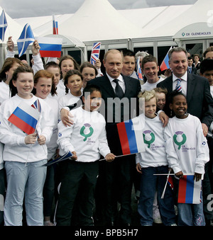 Russian President arrives in Scotland to participate in Group of Eight summit - Stock Photo