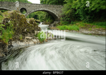 The river Teifi flows beneath the bridge downstream from Cenarth Falls, Carmarthenshire - Stock Photo
