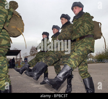 The autumn draftees sent to military units - Stock Photo