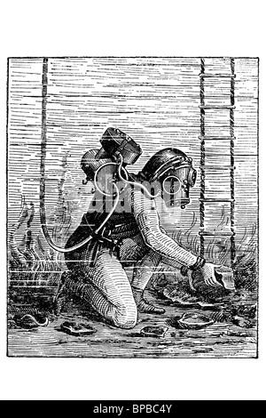 Diver. Antique illustration. 1910. - Stock Photo