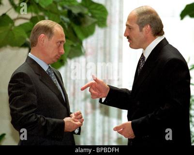 Belarussian President Alexander Lukashenko & his Russian counterpart Vladimir Putin have tet-a-tet talk after session - Stock Photo