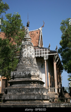Stupa at Wat hanchey, kampong Cham, Cambodia - Stock Photo