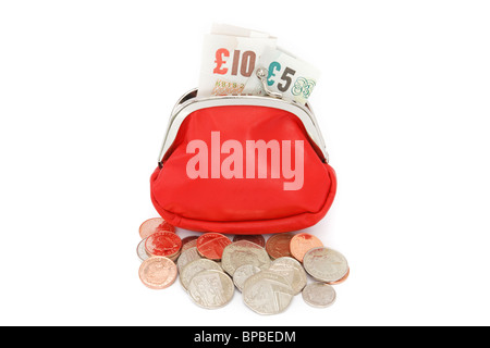Open red money purse containing ten and five pound notes with some coins spilling out isolated on a white background. - Stock Photo
