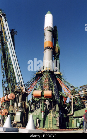 Soyuz rocket with Progress-M-46 transport spaceship on the launcher in Baikonur - Stock Photo