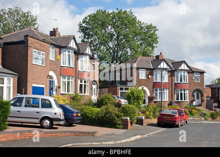 Semi-detached houses on a cul de sac, Prestwich, Manchester, UK - Stock Photo