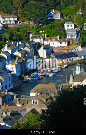 Elevated viewpoint overlooking Polperro, Cornwall, UK - Stock Photo