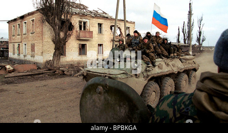 Russian flag in Grozny, recently liberated from the Chechen militants - Stock Photo