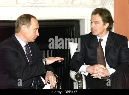 British Prime Minister Tony Blair meets with Russian President-elect Vladimir Putin - Stock Photo