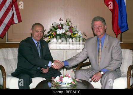 Russian President Vladimir Putin and U.S. President Bill Clinton's bilateral meeting - Stock Photo