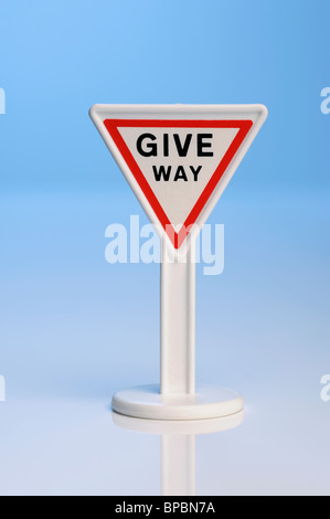 Toy Give Way sign - Stock Photo
