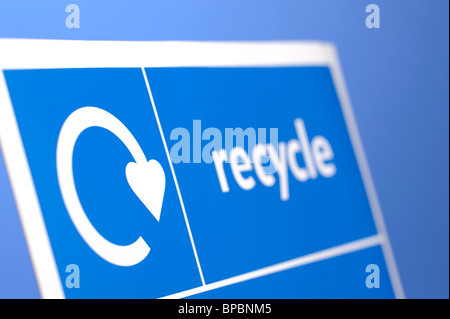 Blue Recycle sign - Stock Photo