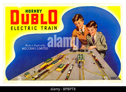 Illustrated label attached to the box lids of Hornby Dublo post war toy train sets in the 1950s and early 1960s - Stock Photo