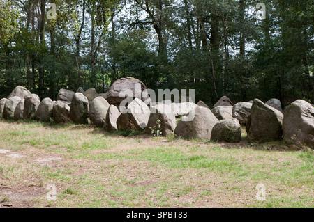 Megalithic tomb Kleinenkneten II - Grosse Steine II, three cambers in one enclosure - Stock Photo