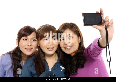 University students taking a picture of themselves - Stock Photo