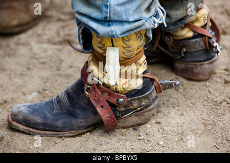 Close-up of cowboy's boots and spurs, Chaffee County Fair & Rodeo - Stock Photo