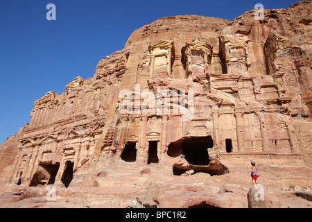 Corinthian tomb and palace tomb, the royal tombs, Petra, Jordan - Stock Photo