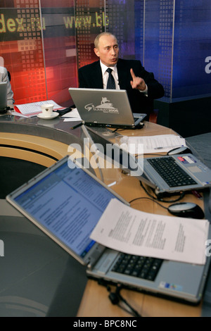 Russian President answers questions in online conference - Stock Photo