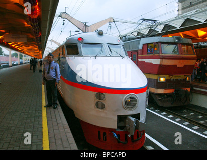 Moscow-to-St. Petersburg high-speed electric train ER-200 makes its first journey after railway line upgrade - Stock Photo