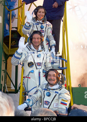 Soyuz FG rocket booster takes 14th ISS crew into space - Stock Photo