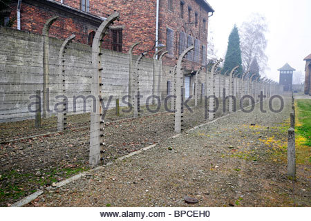 Detail of the perimeter fence and prison blocks surrounding Auschwitz concentration camp - Stock Photo