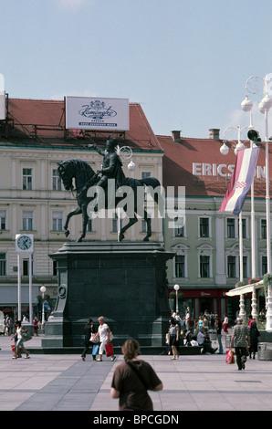 Ban Josip Jelacic square, city center, Zagreb, Croatia; Europe - Stock Photo