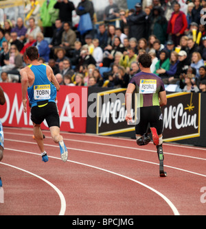 Oscar PISTORIUS & Robert TOBIN, 400m Heat B at Aviva London Grand Prix, Crystal Palace, London.  August 2010. - Stock Photo