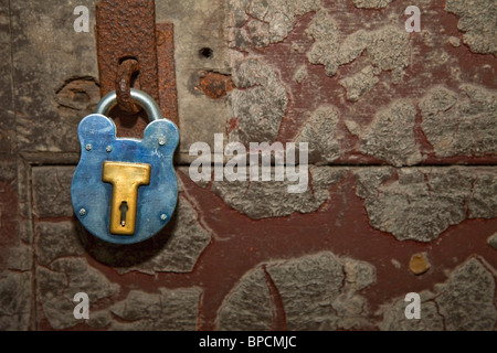 kilmainham, dublin, ireland; a vintage lock on a rusted door - Stock Photo