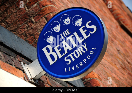 Sign at The Beatles Story, Albert Dock, Liverpool, England - Stock Photo